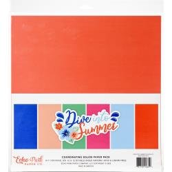 Echo Park Double-Sided Solid Cardstock 12X12 6/Pkg Dive Into Summer