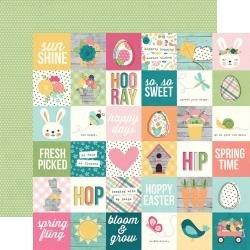 Simple Stories Hip Hop Hooray Double-Sided Cardstock 12X12 2X2 Elements
