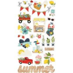 Simple Stories Summer Farmhouse Chipboard Stickers 6X12