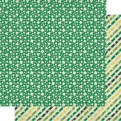 Authentique Dublin Double-Sided Cardstock 12X12 #7 Green/White Shamrocks & Clovers