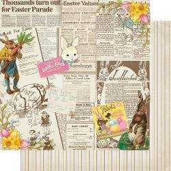 Authentique Cottontail Double-Sided Cardstock 12X12 #4 Vintage Newspaper Collage