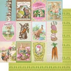 Authentique Cottontail Double-Sided Cardstock 12X12 #8 3X4 Cut-Aparts