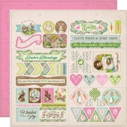 Authentique Cottontail Double-Sided Cardstock Die-Cut Sheet 12X12 Elements