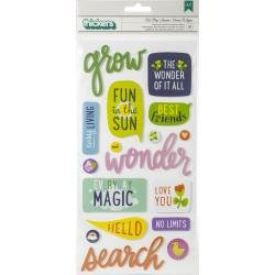 AC Shimelle Never Grow Up Thickers Stickers 31/Pkg Let's Go Phrase/Puffy