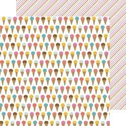 Pebbles Sun & Fun Double-Sided Cardstock 12X12 Ice Cream Yum