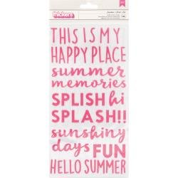 Pebbles Sun & Fun Thickers Stickers 118/Pkg Phrase/Puffy