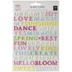 Pink Paislee Paige Evans Bloom Street Puffy Stickers 120/Pkg Words