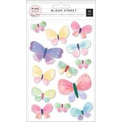 Pink Paislee Paige Evans Bloom Street Dimensional Stickers 13/Pkg Butterflies