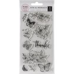 Pink Paislee 5th & Monaco Clear Acrylic Stamps 11/Pkg