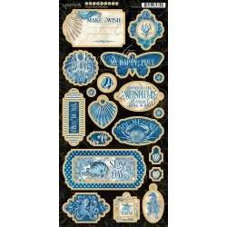 Graphic 45 Ocean Blue Chipboard Die-Cuts 6X12 Sheet