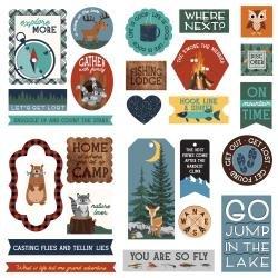 PhotoPlay Camp Happy Bear Ephemera Cardstock Die-Cuts