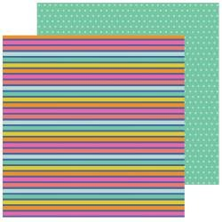 Pebbles Live Life Happy Double-Sided Cardstock 12X12 Rainbow Stripes