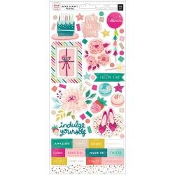 Pink Paislee And Many More Cardstock Stickers 6X12 119/Pkg W/Champagne Foil Accents