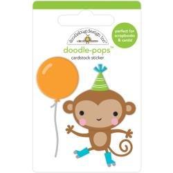 Doodlebug Doodle-Pops 3D Stickers Monkey Business, Party Time