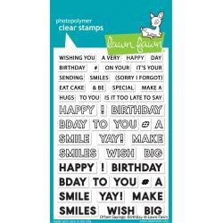 Lawn Fawn Clear Stamps 4X6 Offset Sayings: Birthday