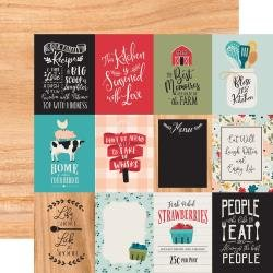 Echo Park Farmhouse Kitchen Double-Sided Cardstock 12X12 3X4 Journaling Cards