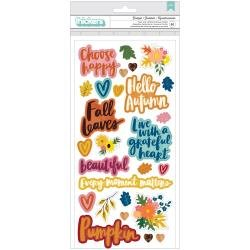 Amy Tan Late Afternoon Thickers Stickers 50/Pkg Grateful Phrase/Foam