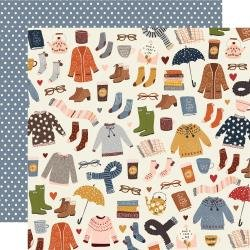 Simple Stories Cozy Days Double-Sided Cardstock 12X12 Sweaters & Boots