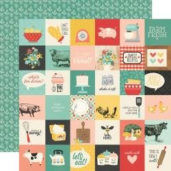 Simple Stories Apron Strings Double-Sided Cardstock 12X12 2X2 Elements