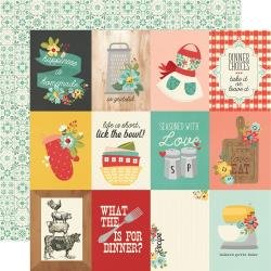 Simple Stories Apron Strings Double-Sided Cardstock 12X12 3X4 Elements