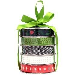 American Crafts Premium Ribbon & Twine 5/Pkg Vintage Christmas