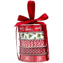 American Crafts Premium Ribbon & Twine 5/Pkg Merry Christmas