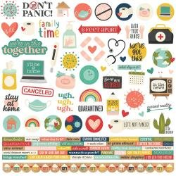 Simple Stories Quarantined Cardstock Stickers 12X12 Combo