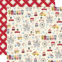 Simple Stories Say Cheese Main Street Double-Sided Cardstock 12X12 Go See Ride