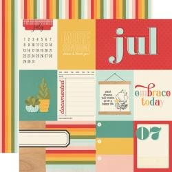 Simple Stories Hello Today Double-Sided Cardstock 12X12 July