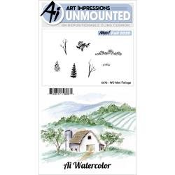 Art Impressions Watercolor Cling Rubber Stamps-Mini Foliage