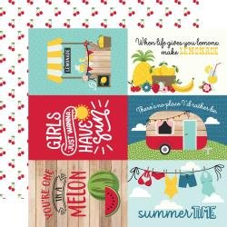 Echo Park A Slice Of Summer Double-Sided Cardstock 12X12 6X4 Journaling Cards