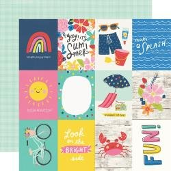 Simple Stories Sunkissed Double-Sided Cardstock 12X12 3X4 Elements