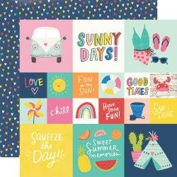 Simple Stories Sunkissed Double-Sided Cardstock 12X12 2X2 & 4X4 Elements