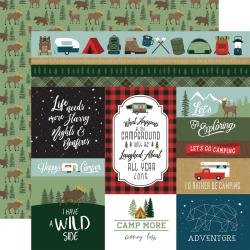 Echo Park Let's Go Camping Double-Sided Cardstock 12X12 Multi Journaling Cards