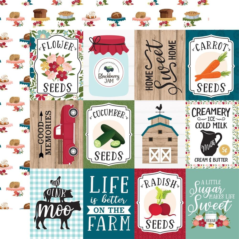 Echo Park Farmer's Market Double-Sided Cardstock 12X12 3X4 Journaling Cards