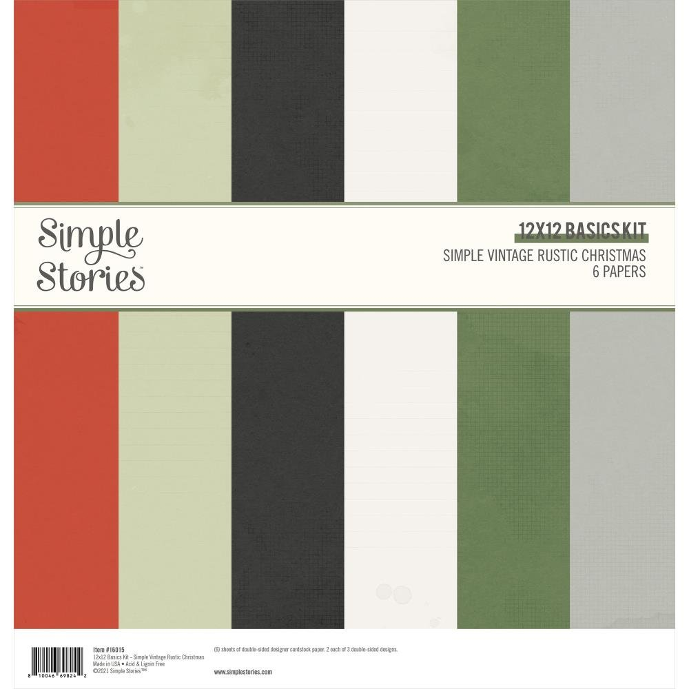 Simple Stories Basics Double-Sided Paper Pack 12X12 Simple Vintage Rustic Christmas