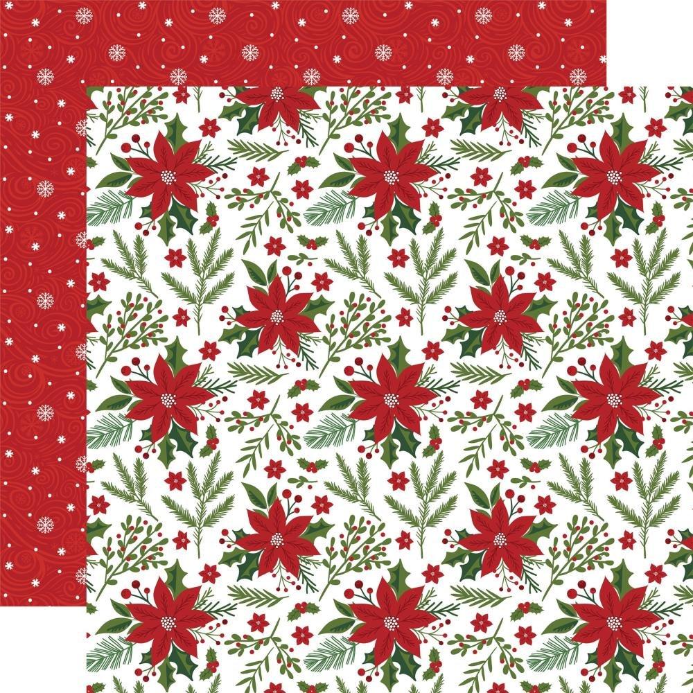 Echo Park Christmas Magic Double-Sided Cardstock 12X12 Pretty Poinsettias