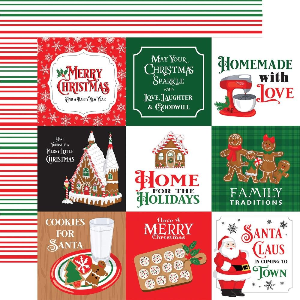 Carta Bella Christmas Cheer Double-Sided Cardstock 12X12 4X4 Journaling Cards