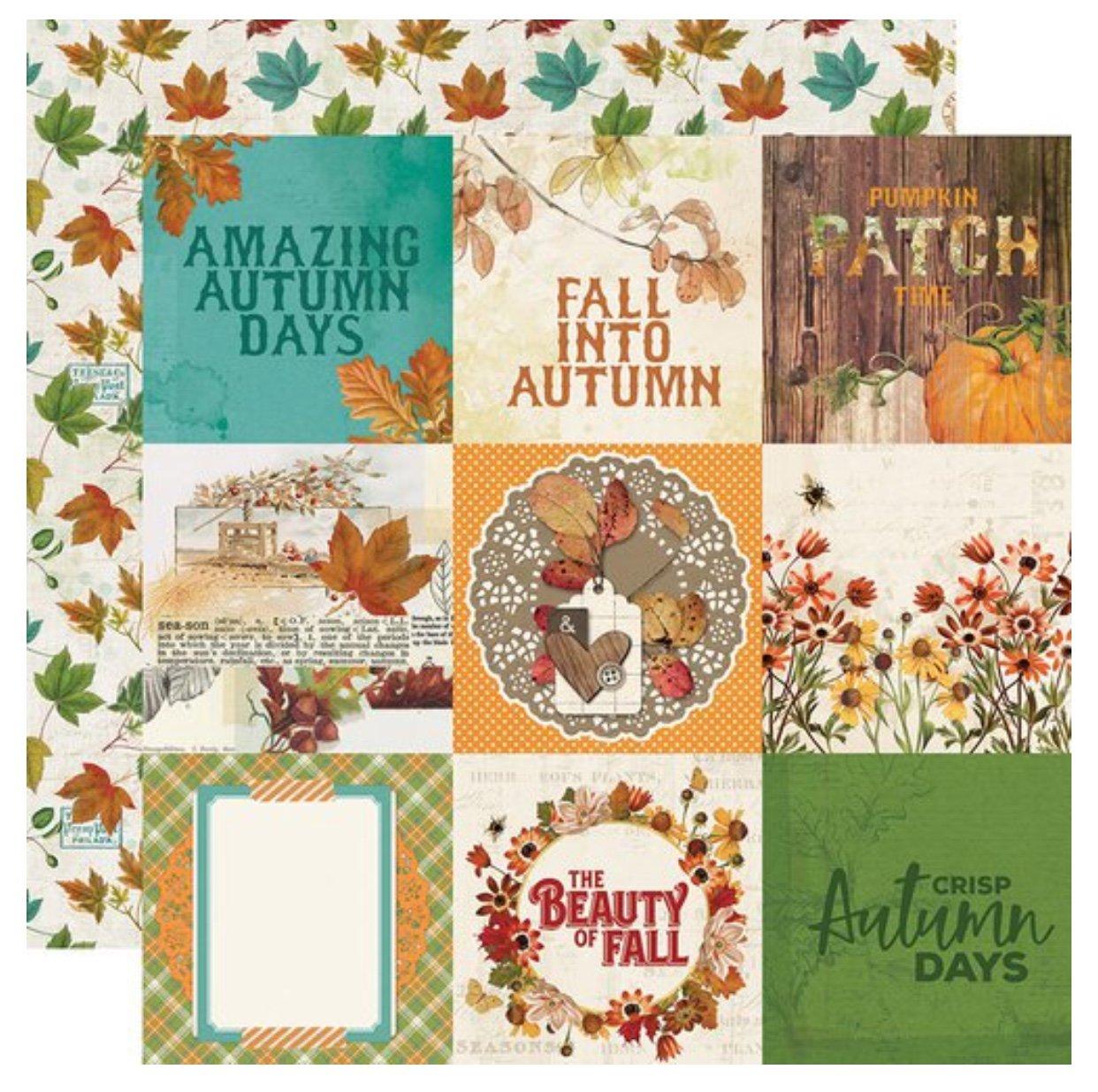 Simple Stories Autumn Splendor Double-Sided Cardstock 12X12 4x4 Elements
