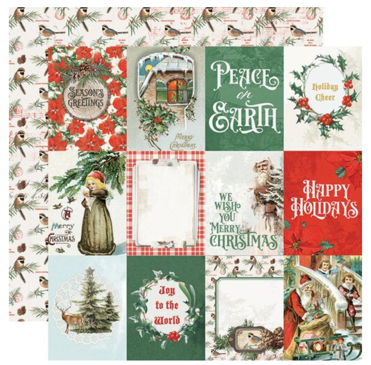 Simple Stories Country Christmas Double-Sided Cardstock 12X12 3x4 Elements