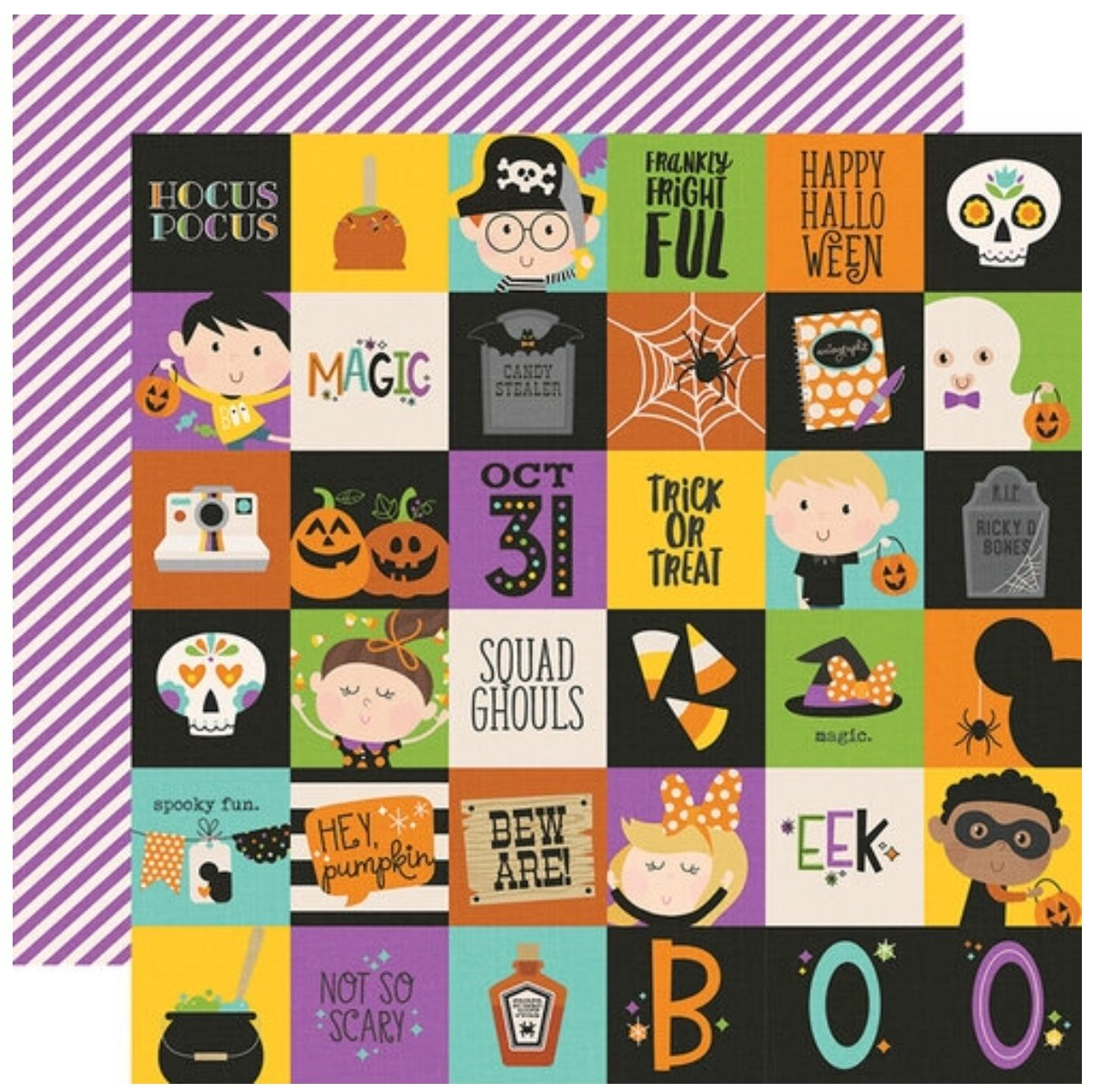 Simple Stories Say Cheese Halloween Double-Sided Cardstock 12X12 2x2 Elements