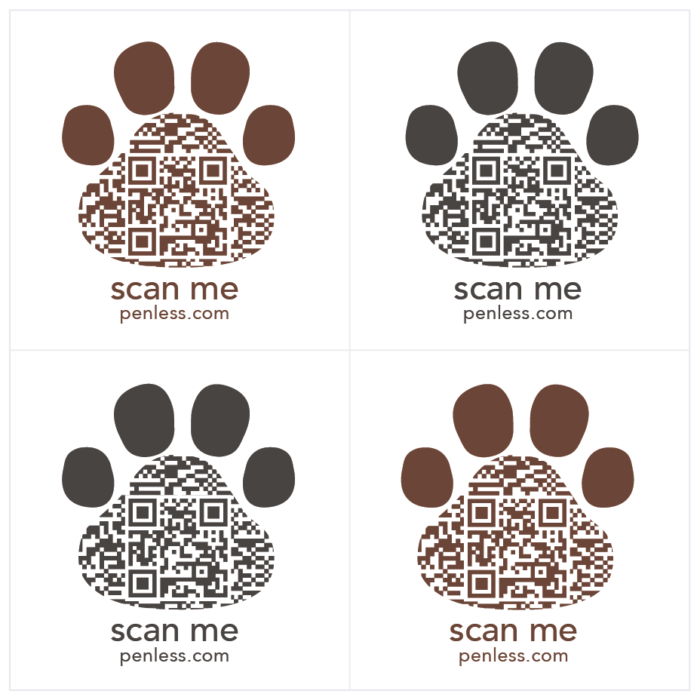 Penless 4UP Brown Paws Stickers-QR Codes