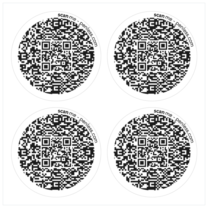 Penless 4UP Black Circle Stickers-QR Codes