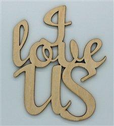 Clear Scraps I Love usS XL Script Wood Quote