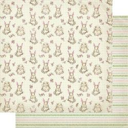 Authentique Cottontail Double-Sided Cardstock 12X12 #2 Bunny W/Floral & Dots