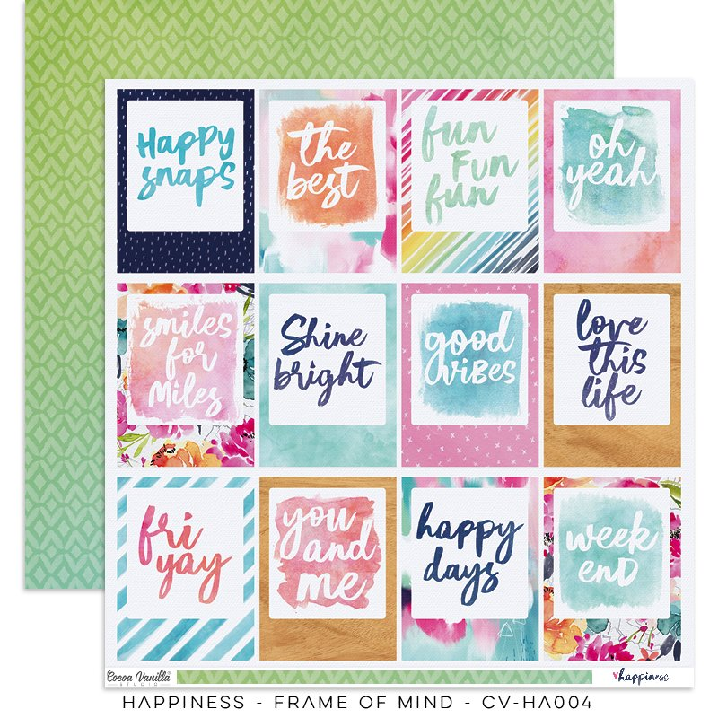 Cocoa Vanilla Studio: Happiness Frame of Mind 12x12 Paper