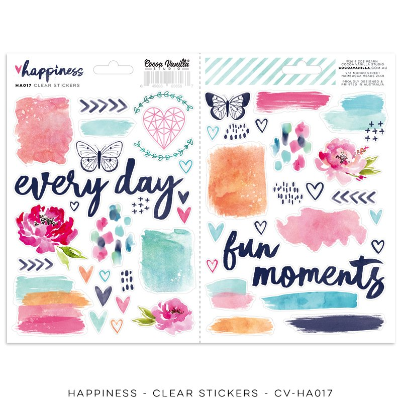Cocoa Vanilla Studio: Happiness Clear Stickers