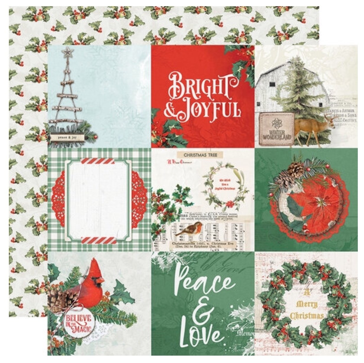 Simple Stories Country Christmas Double-Sided Cardstock 12X12 4x4 Elements