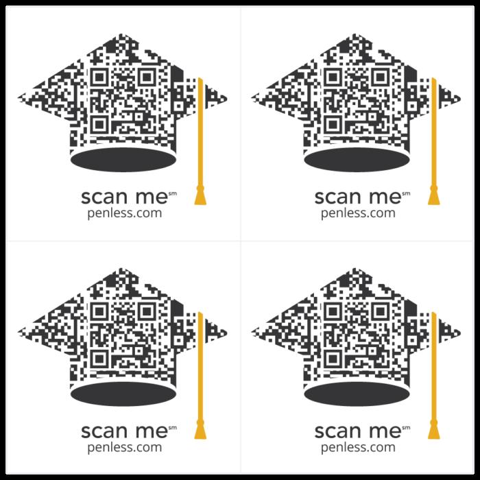 Penless 4UP Graduation Stickers-QR Codes