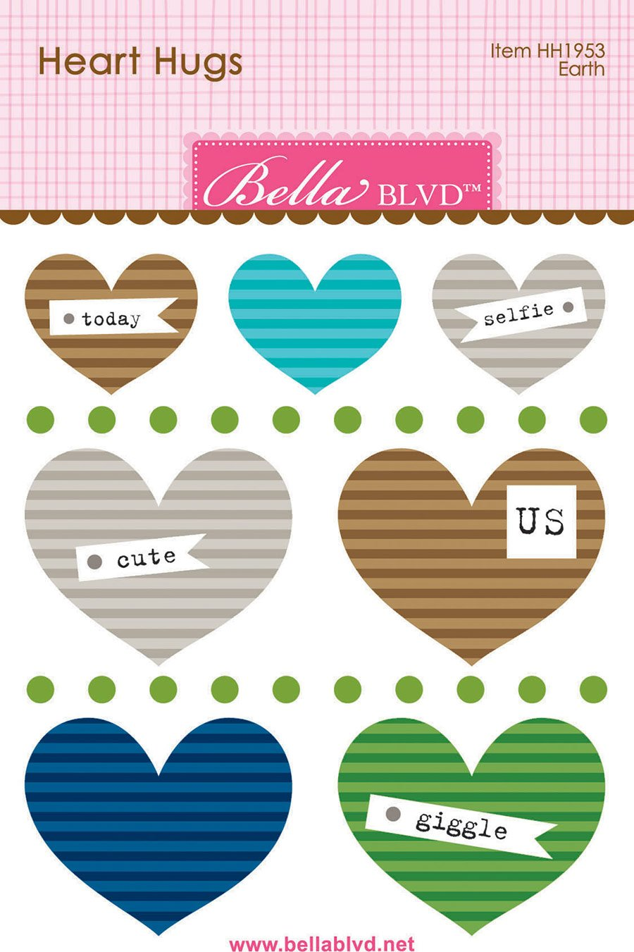 BB Legacy Heart Hugs Embellishments 7/Pkg Earth